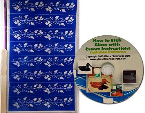 (Grape Vine Border Glass Etching Stencils, Wine Stencils + Free How to Etch CD )