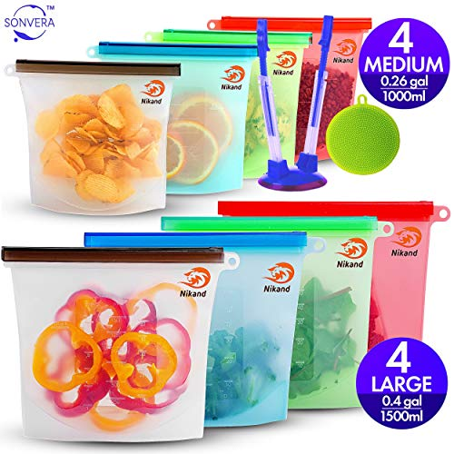 Silicone Bags Reusable Silicone Food Bag 8-pack