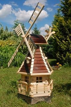 Deko-Shop-Hannusch Moulin /à vent d/écoratif en bois avec roulement /à billes et /éclairage solaire 1,25 m marron