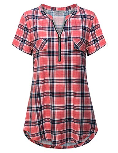 Womens Tops and Blouses, Ladies Boutique Clothing Fashion Notch Collar Shirt Split V Neck Short Sleeve Half Zip Pullover Tunic Basic Comfort Lightweight Plaid Tshirt Pink L
