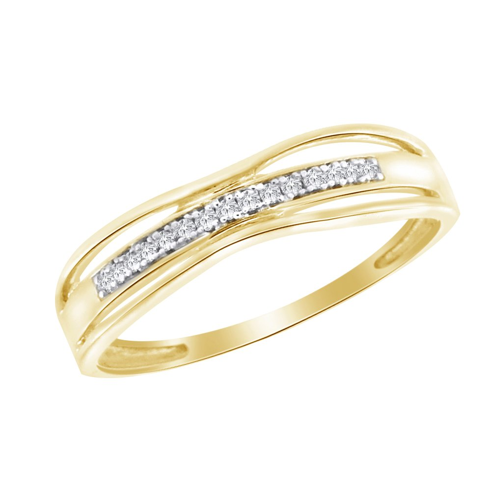 Pretty Jewellery Yellow Plated 925 Sterling Silver Round Cut White Cubic Zirconia Womens Wedding Band 5