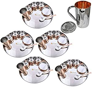 """Prisha India Craft Set of 5 Dinnerware Traditional Stainless Steel Copper Dinner Set of Thali Plate, Bowls, Glass and Spoon, Dia 13"""" With 1 Stainless Steel Copper Pitcher Jug - Christmas Gift"""