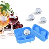 : Cheftronic Ice Ball Maker Molds,Blue Flexible Silicone Ice Tray - Molds 4 X 4.5cm Round Ice Ball Spheres,Keep Your Drink Cold For Longer -No BPA