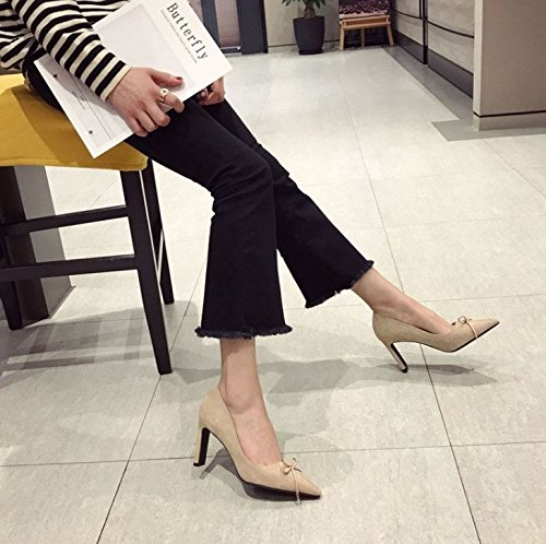 Match 8Cm With Leisure All MDRW Heels Naked Point Rough Lady Shoes 36 The Bow Work Pink Elegant Fashion Spring q0pg6