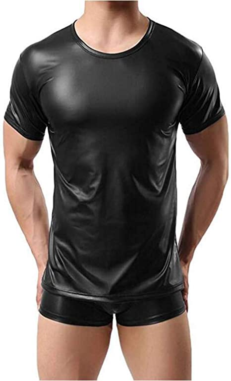 CoolTing Moda Sexy de Cuero de imitación T-Shirt Camisas Hombres Sexy Fitness Tops Gay T-Shirt Tees para Hombre T-Shirt O-Cuello Sexy Hombres Ropa Casual,Black,S: Amazon.es: Deportes y aire libre