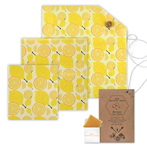 Organic Beeswax Wraps | Reusable, Eco-Friendly Food, Sandwich, Snack Wrap | Plastic Free | Premium Set of 6, 1 Large, 1 Medium, 1 Small Wrap, Button, Tie and Refresh Wax ()