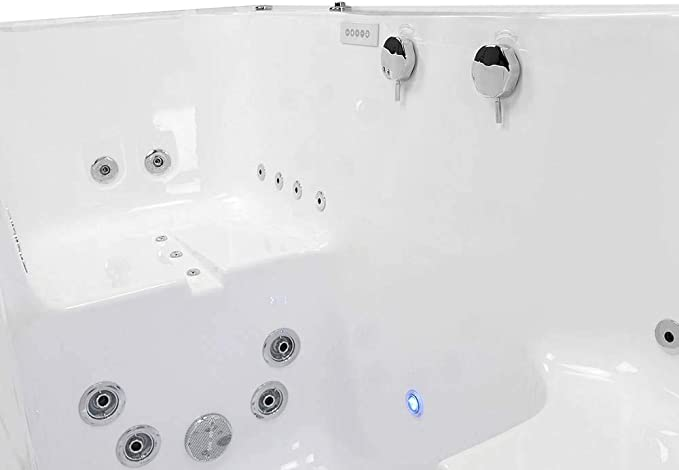 Ella S Bubbles O2sa3680t Big4two Triple Massage Acrylic Outward Swing Door Walk In Bathtub With Two Seats Center Dual 2 Drains 36 X 80 White Amazon Com