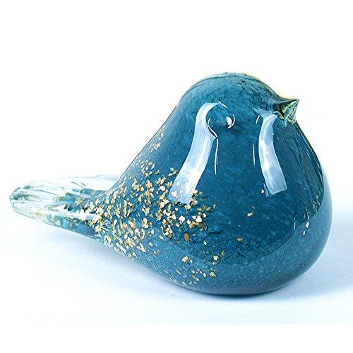 - SHEROX Bird Sculpture Art Glass Figurine Ornament Hand Blown Artwork Home Decor Table Decor (Blue)