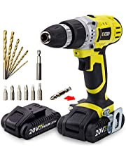 CACOOP 20V Cordless Drill, Variable 2-Speed, Compact, Lightweight Drill/driver, With One 20V MAX 1.5Ah Lithium Ion Battery Pack and One Rapid Charger, Model:CCD20001L