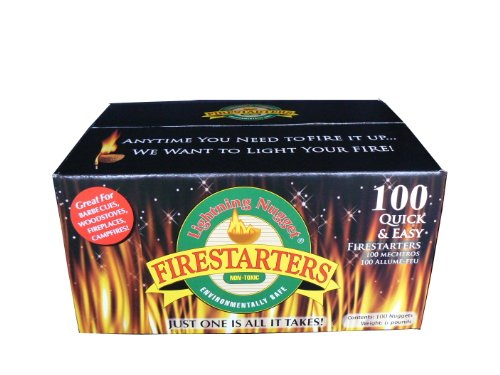 Lightning Nuggets N100SEB Firestarters Super Economy Box of Fire-Starting Nuggets, 100 Count Pine Shelf Kit