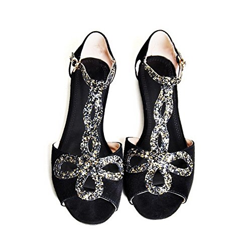 AllhqFashion Women's Low heels Frosted Solid Buckle Open Toe Sandals Black JpUrd