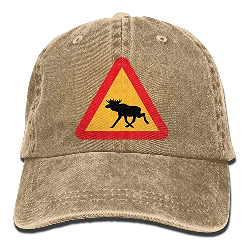 - Unisex Baseball Cap Cotton Denim Hat Warning Moose Roadsign Adjustable Snapback Solid Hat