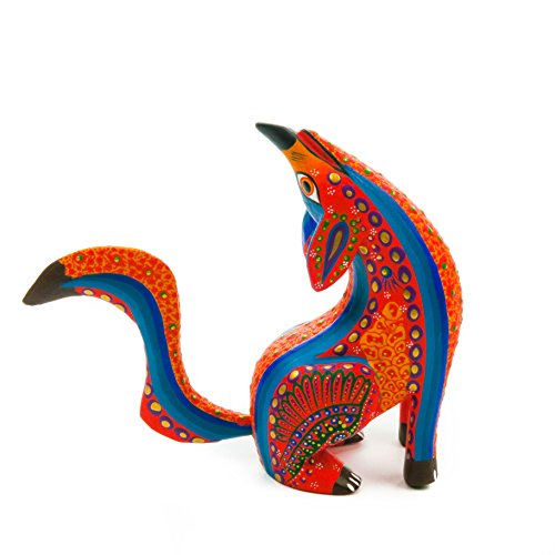 - ORANGE HOWLING COYOTE Handcrafted Oaxacan Alebrije Wood Carving Mexican Folk Art Sculpture Painting
