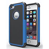 iPhone 5/5S Case, Hankuke Shock Absorption/High Impact Resistant Hybrid Dual Layer Armor Defender Full Body Protective Cover Case for iPhone 5/5S - black+blue