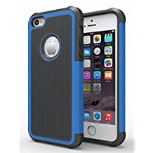 iPhone 6/6s Plus Case,Hankuke Hybrid Dual Layer Full Body Shock Proof Protcetive Armor Defender Cover Case for iPhone 6/6S Plus (5.5 inch screen) - black+blue