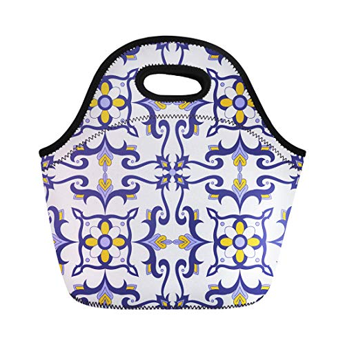 Semtomn Neoprene Lunch Tote Bag Portuguese Pattern Flowers Motifs Italian Portugal Azulejo Mexican Talavera Reusable Cooler Bags Insulated Thermal Picnic Handbag for Travel,School,Outdoors,Work