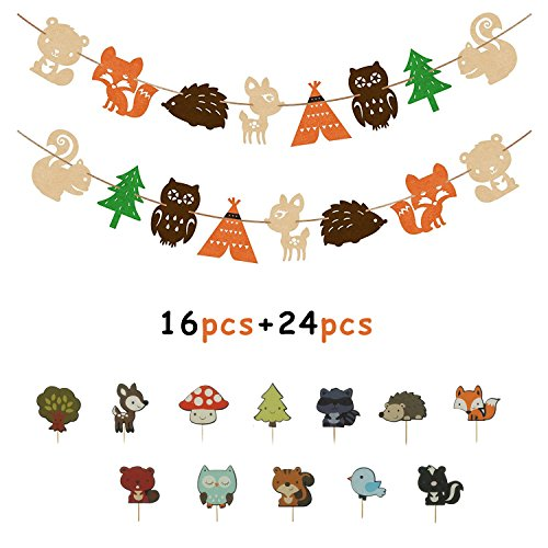 - Muhuyi Woodland Creatures Banner And Forest Animals Friends Cake Toppers For Birthday Wedding Baby Shower Party Decor