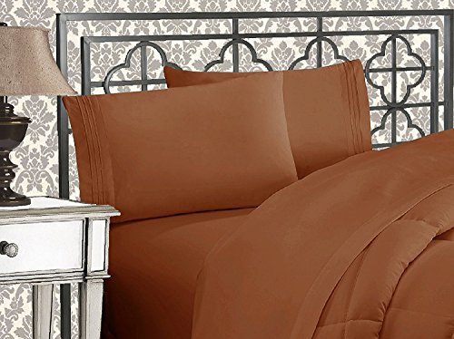 (Elegant Comfort 1500 Thread Count Wrinkle & Fade Resistant Egyptian Quality Ultra Soft Luxurious 4-Piece Bed Sheet Set, Queen, Bronze)