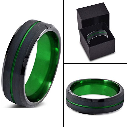 Tungsten Wedding Band Ring 6mm for Men Women Green Black Beveled Edge Brushed Polished Center Line Lifetime Guarantee
