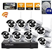 VOYAGEA 8CH 720P NVR Night Vision IP Surveillance Camera Kit 3TB HDD Wireless Home Surveillance Security Camera System,8 pcs 1.0MP Night Vision720P Security IP Cameras A14