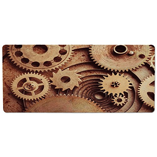 Copper Clock Mechanical (iPrint Pet Mat for Food and Water,Industrial Decor,Inside The Clocks Theme Gears Mechanical Copper Device Steampunk Style Print,Cinnamon,Rectangle Non-Slip Rubber Mat for Dogs and Cats)