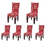 decorating dining room SoulFeel Set of 6 x Stretchable Dining Chair Covers, Spandex Chair Seat Protector Slipcovers for Holiday Banquet, Home Party, Hotel, Wedding Ceremony (Retro Style, Red)