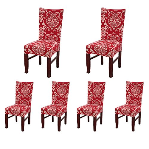 SoulFeel Set of 6 x Stretchable Dining Chair Covers, Spandex Chair Seat Protector Slipcovers for Holiday Banquet, Home Party, Hotel, Wedding Ceremony (Retro Style, Red)