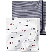 Carter's Baby Boys 2-Pack Sports And Stripes Swaddle Blankets