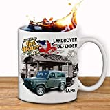 Personalised landrover DEFENDER Classic Car Collector Mug Cup Gift in a Gift Box Add a name by Krafty Gifts