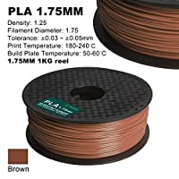 Century 3D PLA Printer Filament 1.75mm 1kg spool 2.2 pounds Dimensional Accuracy +/- 0.05 mm (Brown) by Century Products