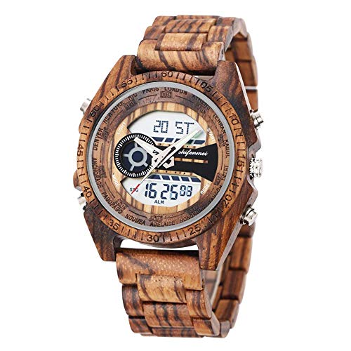 (Wooden Watches, shifenmei S2139 Multifunctional Wooden Watches for Men Japanese Movement and Battery Lightweight Digital Watches Analog Quartz Handmade Wood Watch with Gift Box (Zebra Wood))