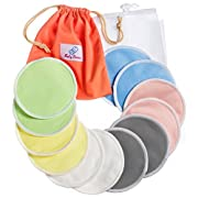 Reusable Nursing Pads 12 Pack   Organic Bamboo   Laundry & Travel Bag   Breastfeeding & Baby Sleeping Guide   Softest Breast Pads by BabyVoice