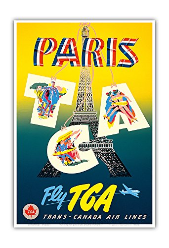 (Paris - Fly TCA, Trans-Canada Air Lines - Eiffel Tower - Vintage Airline Travel Poster by H. P. c.1940s - Master Art Print - 13in x 19in)