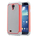 Galaxy S4 Case, S4 Case - ULAK Protection Bumper Case 2 in 1 Style Hard Plastic Shell Soft Soft Silicone Cover for Samsung Galaxy S4 IV i9500 (Coral Pink+Grey)