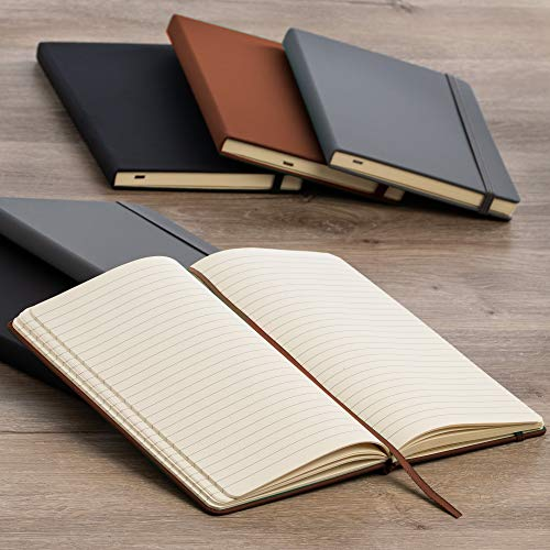 Simply-Genius-4-Pack-A5-Hardcover-Leatherette-Journals-to-Write-in-for-Women-Faux-Leather-Journal-for-Men-Writing-Journal-Notebook-Lined-192pg-Ruled-57-x-84-Brown