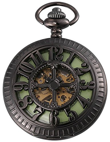 Carrie Hughes Men Baroque Steampunk Luminous dial Skeleton Mechanical Pocket watch with chain Gift box (Black-luminous - Black Skeleton Dial Mechanical