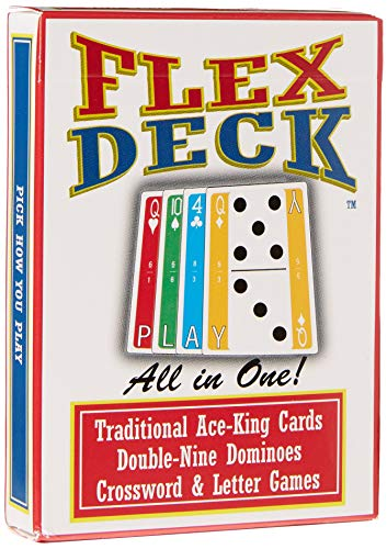 Flexdeck: Dominoes, Word Games, Card Games Combined All in one Deck of Playing Cards for Kids and Adults to Travel and Play at Home