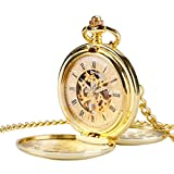 Mens Mechanical Hand-Wind Pocket Watch Vintage Double Hunter Skeleton Engraved Roman Numerals Gold Fob Watches