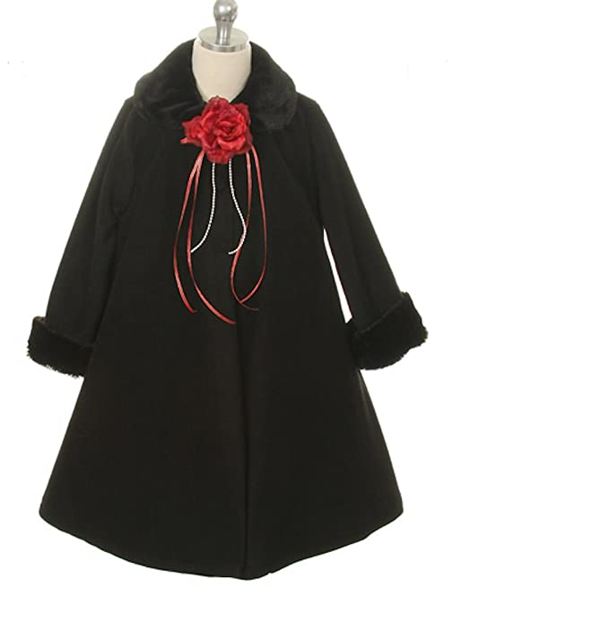 Amazon.com: Cozy Fleece Long Sleeve Cape Jacket Coat - Black Girl ...