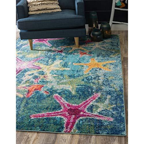 Ln 5×8 Blue Pink Ocean Starfish Area Rug Rectangle, Indoor Navy Ocean Star Fish Carpet for Living Room Nautical Coastal Cottage Lake House Water Seashells Marine Life Aquarium, Polypropylene