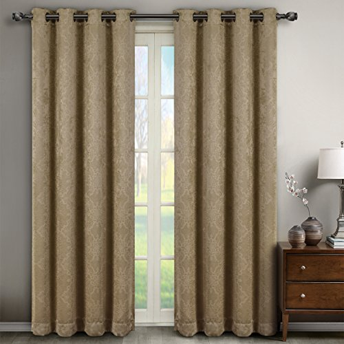 (Deluxe Energy Efficient & Room Darkening. Pair of Two Top Grommet Blackout Weave Embossed Curtain Panel, Elegant and Contemporary Bella Blackout Panel, Taupe, 84