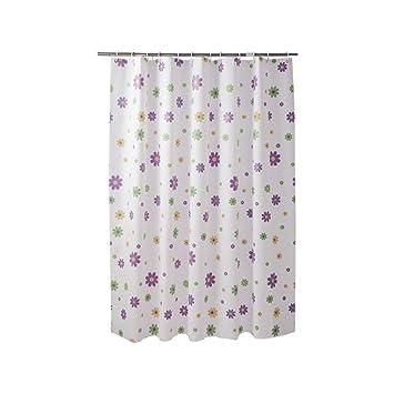 bathroom home Cortinas de Ducha,Flor Purpura,Tela Impermeable Anti-Moho Accesorios de