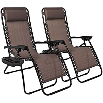 Best Choice Products Zero Gravity Chairs Case Of (2) Lounge Patio Chairs Outdoor Yard Beach- Brown