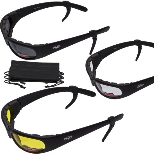 3 PAIRS - Chicago Foam Padded Motorcycle Sunglasses - FREE Rubber EAR LOCKS and Microfiber Cleaning/Storage Pouch - MATTE Black - Sunglasses Chicago