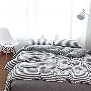 PURE ERA Ultra-Soft Comfy Jersey Knit Cotton Home Bedding Sets Striped Duvet Cover and Pillow Shams Grey King Size