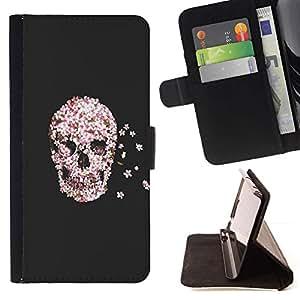 For Sony Xperia M2 Case , Flores Renacimiento Muerte Gris Gris- la tarjeta de Crédito Slots PU Funda de cuero Monedero caso cubierta de piel