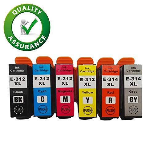 Capacity Remanufactured Ink - 312XL 314XL Ink Cartridges Remanufactured for Expression Photo HD XP-15000 Wide-Format Printer