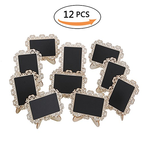 12 PCS Mini Chalkboard Signs with Decorative Boarder Easel Stand for Message Board Signs Wedding Party Table Numbers Place Card Decorative (Chalkboard Easel Panel)