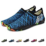 KEALUX Men Women Barefoot Quick-Dry Water Sports Shoes Multifunctional Sneakers with Drainage Holes for Swim, Walking, Yoga, Lake, Beach, Garden, Park, Driving, Boating- 43(Blue)