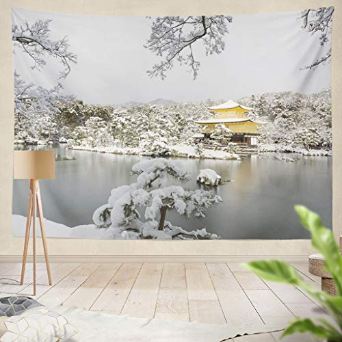 ONELZ Decor Collection, The Golden Pavilion with Snow in Winter Season Bedroom Living Room Dorm Wall Hanging Tapestry 60